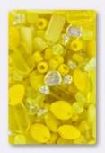 Lot de perles en verre de bohême jaune x100g