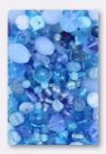 Lot de perles en verre de bohême bleu clair x100g