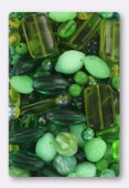 Lot de perles en verre de bohême vert clair x100g