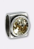Passant en métal argent pour cuir 10x6 mm caviar paillettes lt topaz x1