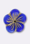Fleur filés or 20 mm bleu x1