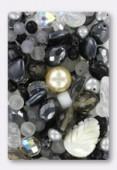 Lot de perles en verre de bohême gris x100g