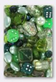 Lot de perles en verre de bohême vert x100g