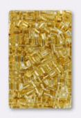 Miyuki square beads 4 mm SB-0003 gold silver lined x20g