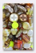 Lot de perles en verre de bohême topaze x100g