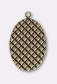 Estampe pendentif gaufre 25x17 mm bronze x1