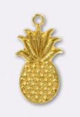 Estampe breloque ananas 15x9 mm or x1