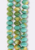 Ronde aplatie 6x9 mm mix green turquoise matte x4
