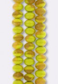 Ronde aplatie 6x9 mm mix olive topaz matte x4