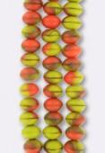 Ronde aplatie 6x9 mm mix coral green beige matte x4