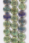 Palet rond 10 mm mix green blue turquoise x4