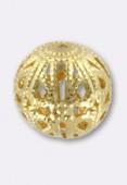 Perle en métal filigrané 12 mm or x2