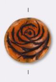 Palet rond rose 17 mm marron roux x1