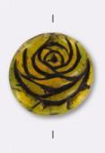 Palet rond rose 17 mm marron jaune x1