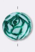 Ronde fleur 9 mm green x2