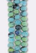 Ronde aplatie 6x9 mm mix tiibétain turquoise matte x4