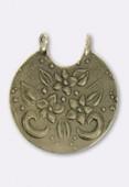 Estampe pendentif fleuri 33x30 mm bronze x1