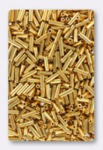 Miyuki bugle 6 mm 24kt gold plated x5g