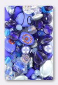 Lot de perles en verre de bohême bleu x100g