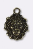 Estampe breloque tête de lion 10x8mm bronze x1