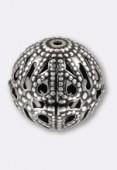 Perle en métal filigrané 12 mm argent vieilli x2
