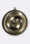 Estampe pendentif spirale 32 mm bronze x1