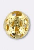 Perle en laiton ronde ajourée 8 mm or x2