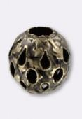 Perle en laiton ronde ajourée 8 mm bronze x2