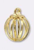 Perle en laiton cage 1 anneau 11 mm or x1