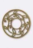 Pendentif en métal feuilles 43 mm bronze x1