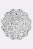Pendentif en métal cœurs 44 mm argent x1