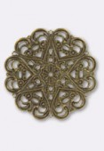 Pendentif en métal cœurs 44 mm bronze x1