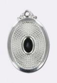 Estampe pendentif granulé 25x17 mm support à coller 4x6 mm argent x1