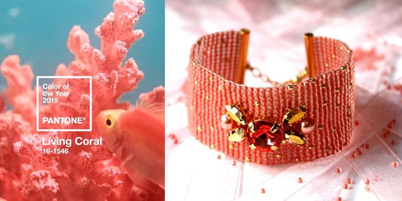 Manchette living coral matiere premiere