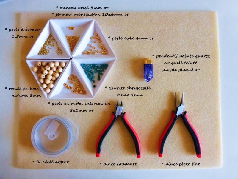 materiel necessaire sautoir quartz craquelé atelier matiere premiere