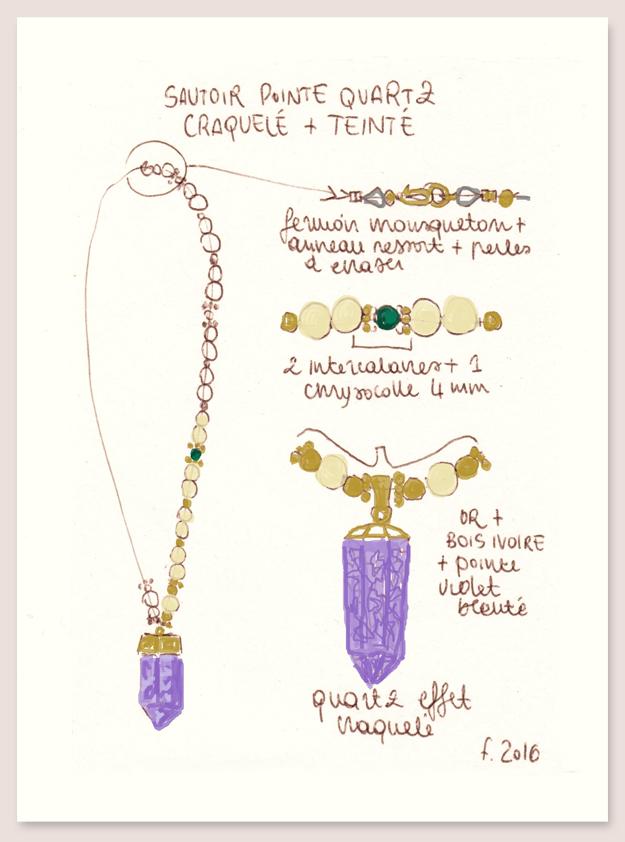 dessin couleur sautoir quartz craquelé atelier matiere premiere