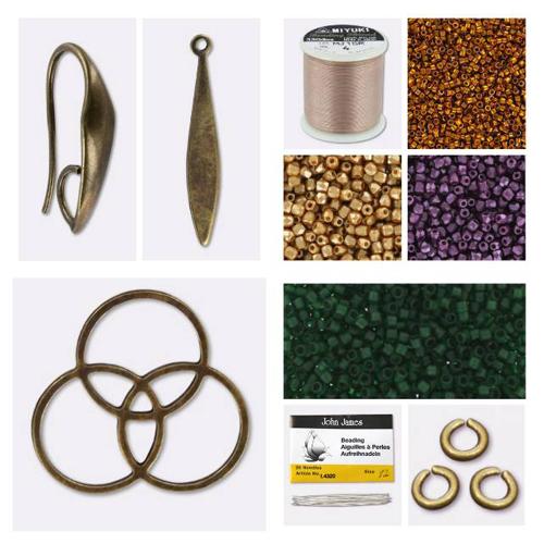 matériel nécessaire boucles d'oreilles brick stitch atelier matiere premiere